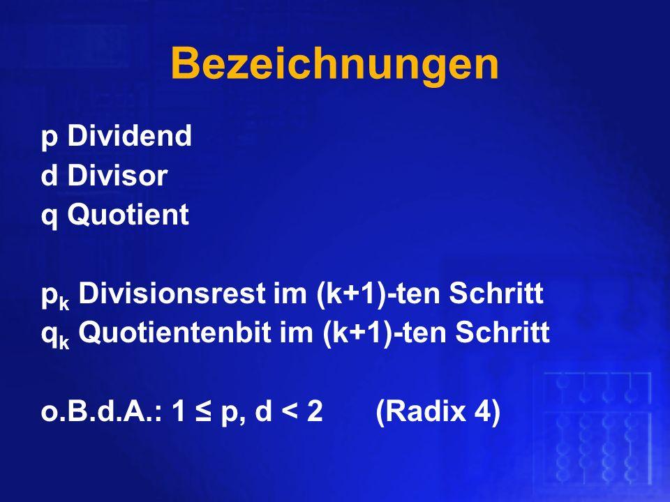 Bezeichnungen p Dividend d Divisor q Quotient p k Divisionsrest im (k+1)-ten Schritt q k Quotientenbit im (k+1)-ten Schritt o.B.d.A.: 1 p, d < 2(Radix
