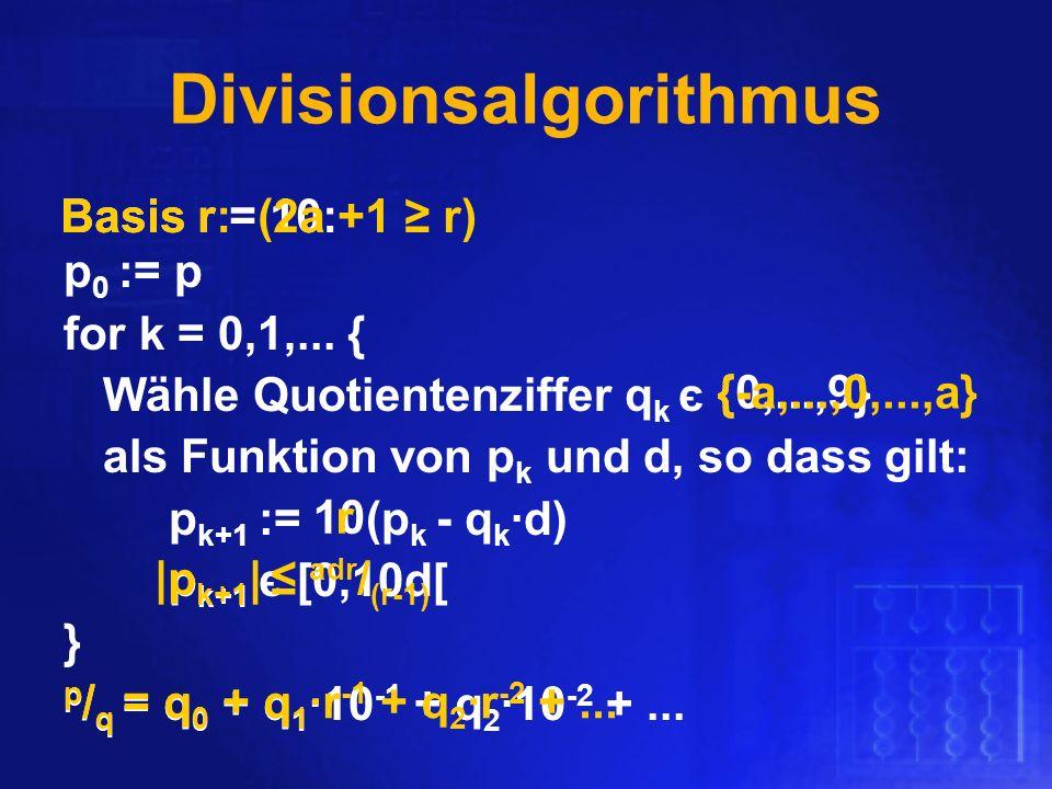 Divisionsalgorithmus p 0 := p for k = 0,1,... { Wähle Quotientenziffer q k є als Funktion von p k und d, so dass gilt: p k+1 := (p k - q k d) p k+1 є