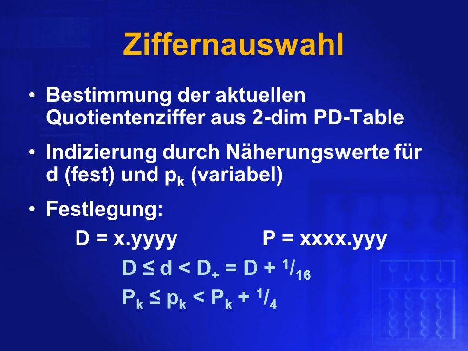 Ziffernauswahl Bestimmung der aktuellen Quotientenziffer aus 2-dim PD-Table Indizierung durch Näherungswerte für d (fest) und p k (variabel) Festlegun