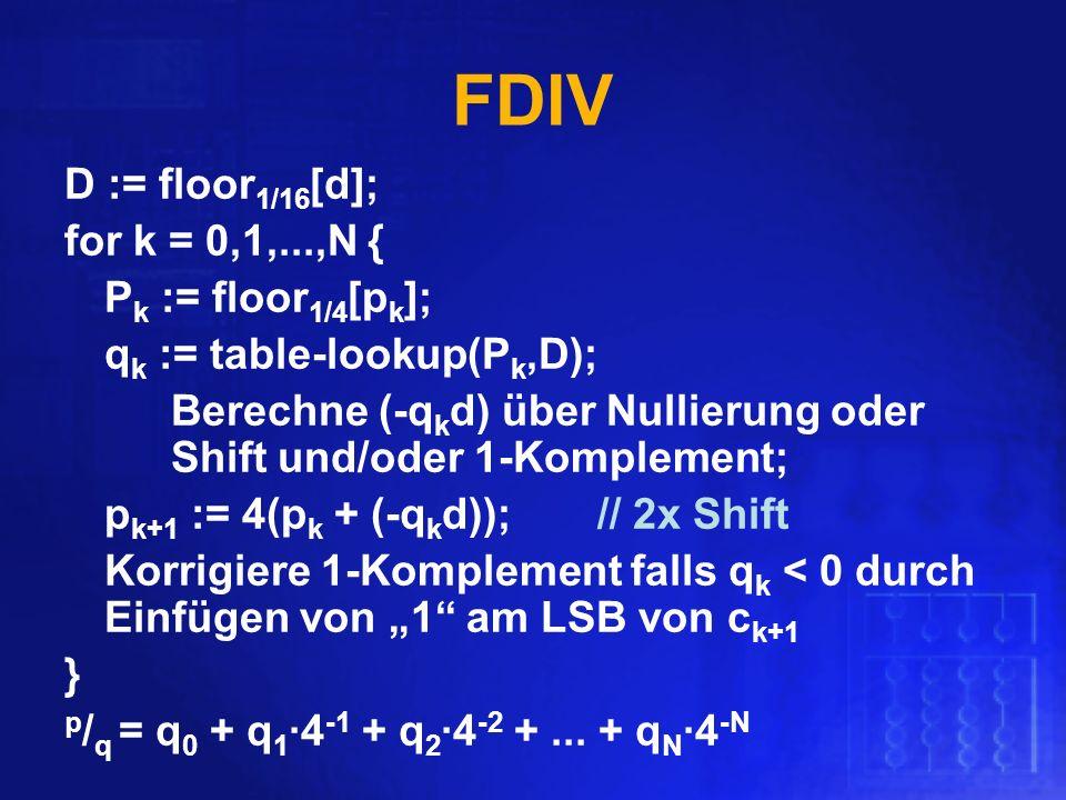 FDIV D := floor 1/16 [d]; for k = 0,1,...,N { P k := floor 1/4 [p k ]; q k := table-lookup(P k,D); Berechne (-q k d) über Nullierung oder Shift und/od