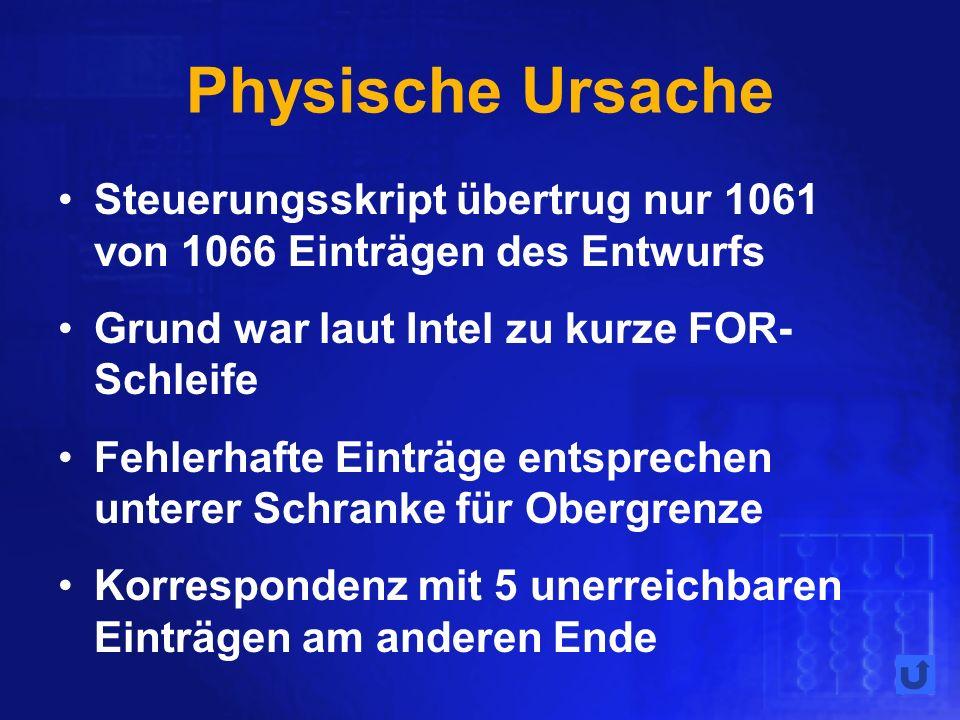 Physische Ursache Steuerungsskript übertrug nur 1061 von 1066 Einträgen des Entwurfs Grund war laut Intel zu kurze FOR- Schleife Fehlerhafte Einträge