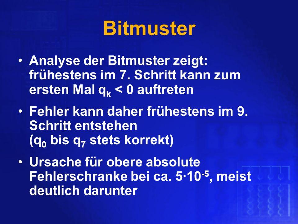 Bitmuster Analyse der Bitmuster zeigt: frühestens im 7. Schritt kann zum ersten Mal q k < 0 auftreten Fehler kann daher frühestens im 9. Schritt entst