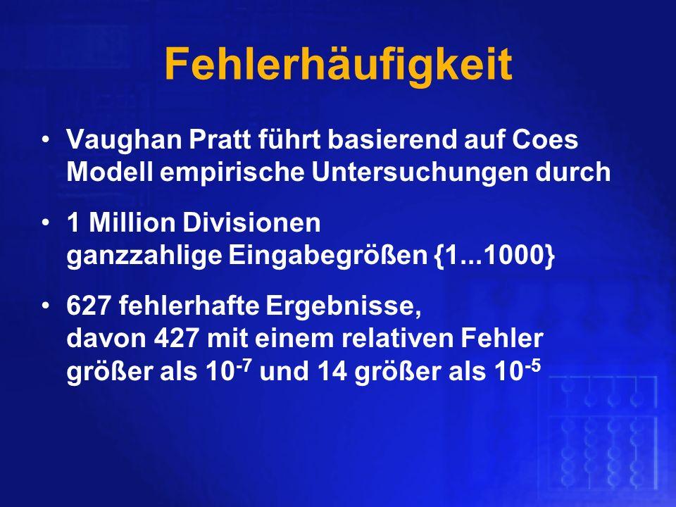 Fehlerhäufigkeit Vaughan Pratt führt basierend auf Coes Modell empirische Untersuchungen durch 1 Million Divisionen ganzzahlige Eingabegrößen {1...100