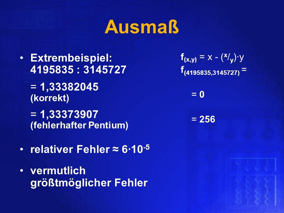 Ausmaß Extrembeispiel: 4195835 : 3145727 = 1,33382045 (korrekt) = 1,33373907 (fehlerhafter Pentium) relativer Fehler 610 -5 vermutlich größtmöglicher