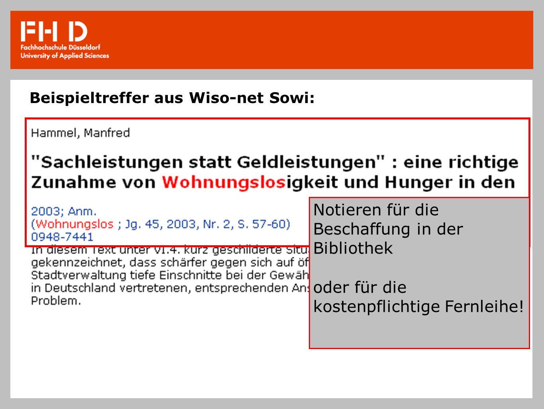 Beispieltreffer aus Wiso-net Sowi: Notieren für die Beschaffung in der Bibliothek oder für die kostenpflichtige Fernleihe!