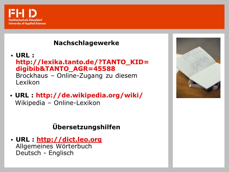 Nachschlagewerke URL : http://lexika.tanto.de/?TANTO_KID= digibib&TANTO_AGR=45588 Brockhaus – Online-Zugang zu diesem Lexikon URL : http://de.wikipedi