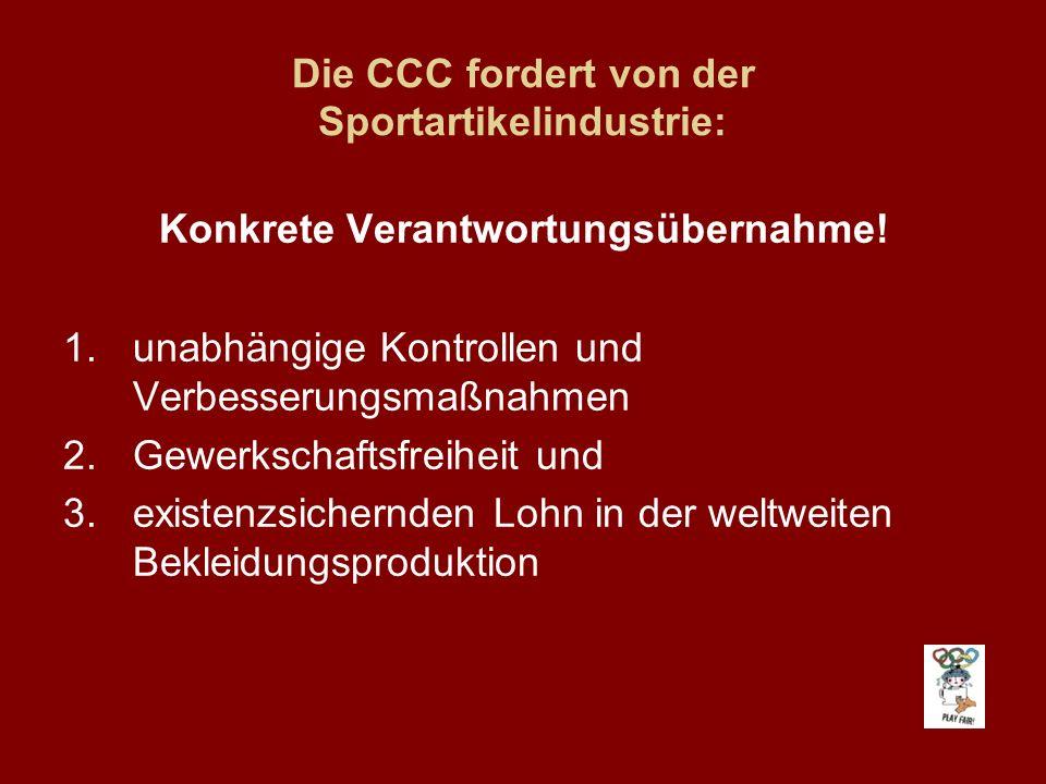 Die CCC fordert vom Internationalen Olympischen Komitee: Konkrete Verantwortungsübernahme.