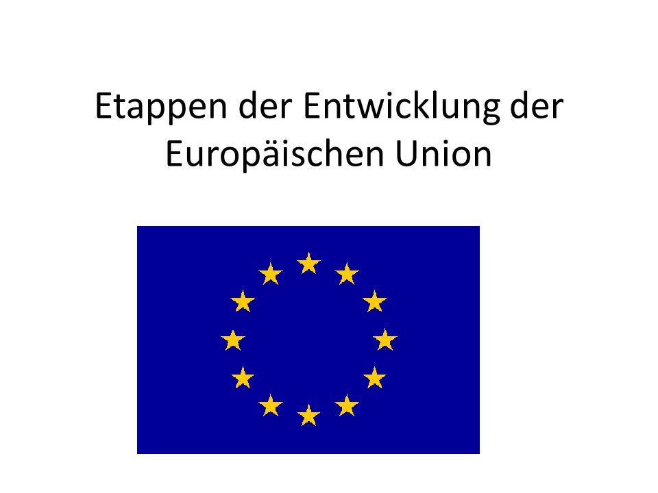 Entwicklung der EU 1952: Europäische Gemeinschaft für Kohle und Stahl (EGKS) Sicherheit+ Kontrolle Beitritt: Belgien, Deutschland, Frankreich, Italien, Luxemburg, Niederlande 1958: Europäische Wirtschaftsgemeinschaft (EWG) 1973: neue Bezeichnung Europäische Gemeinschaft (EG)