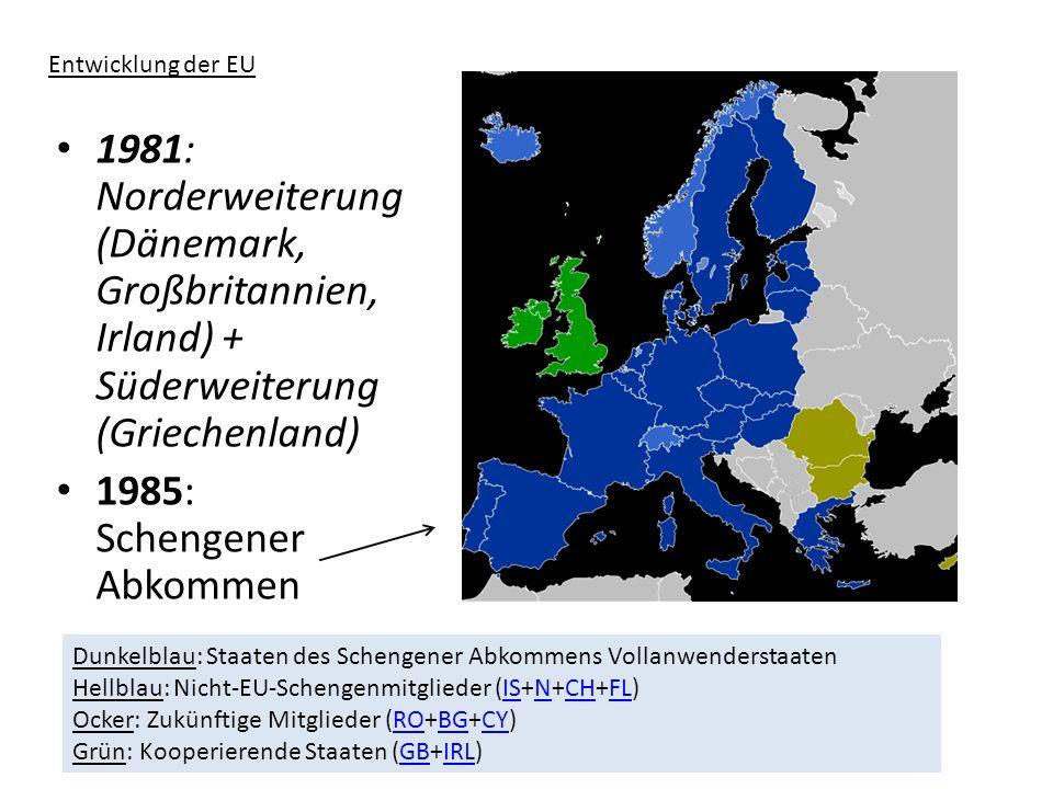 1986: Beitritt Spanien, Portugal 1987: Einheitliche Europäische Akte (EEA) -Schaffung eines Binnenmarktes -Vereinbarung über Europäisches politisches Zentrum (EPZ) 1989: Beitritt ehemaliges DDR-Gebiet 1993: Vertrag von Maastricht - Ziele: (u.a.) einheitliche Währung