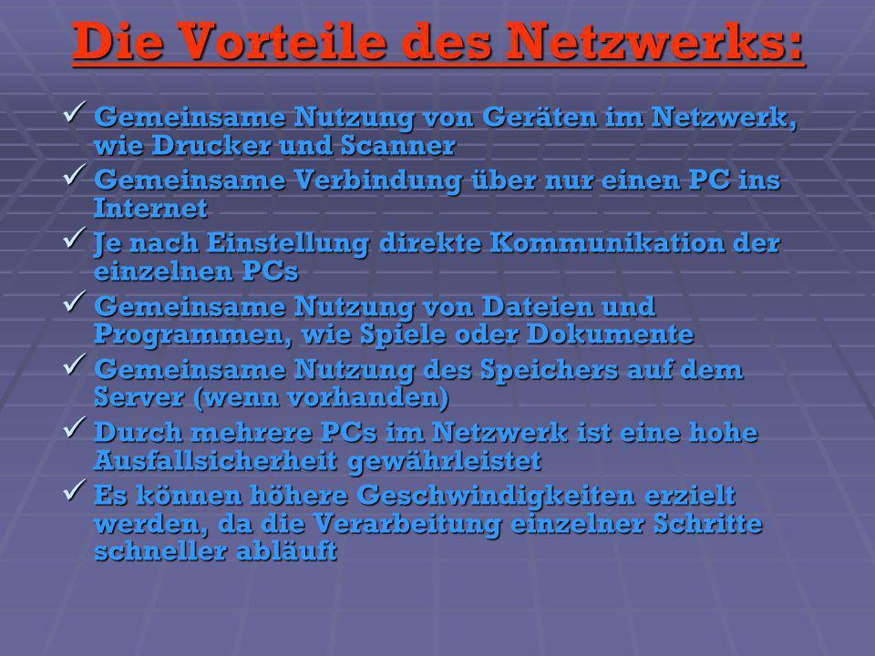 Die Vorteile des Netzwerks: Gemeinsame Nutzung von Geräten im Netzwerk, wie Drucker und Scanner Gemeinsame Nutzung von Geräten im Netzwerk, wie Drucke
