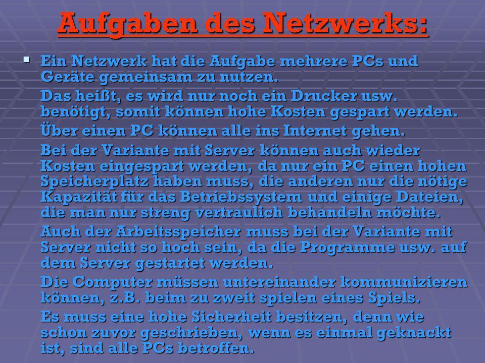 Aufgaben des Netzwerks: Ein Netzwerk hat die Aufgabe mehrere PCs und Geräte gemeinsam zu nutzen. Ein Netzwerk hat die Aufgabe mehrere PCs und Geräte g