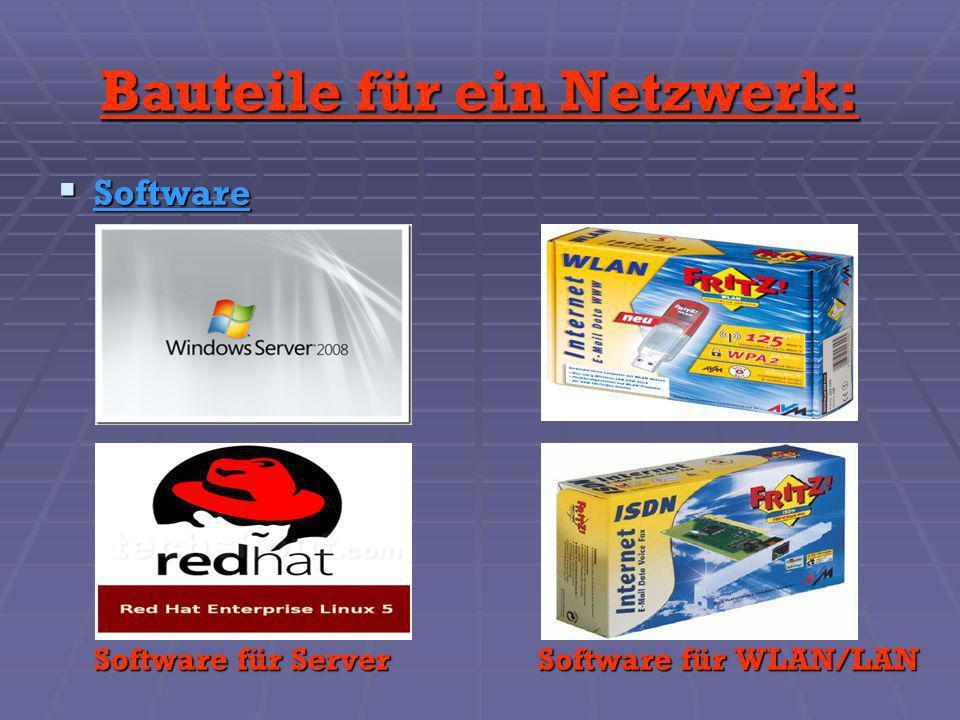 Software Software Software für ServerSoftware für WLAN/LAN Bauteile für ein Netzwerk: