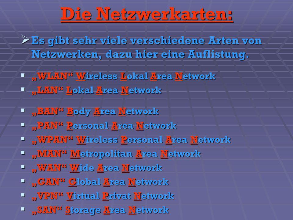 Die Netzwerkarten: Es gibt sehr viele verschiedene Arten von Netzwerken, dazu hier eine Auflistung. Es gibt sehr viele verschiedene Arten von Netzwerk