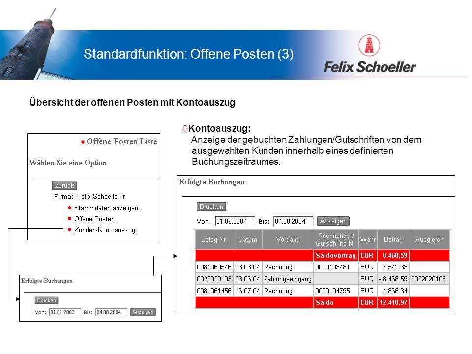 Vorteile für LamiGraf...was bringt das Portal Ihnen... Standardfunktion: Offene Posten (3) ò Kontoauszug: Anzeige der gebuchten Zahlungen/Gutschriften