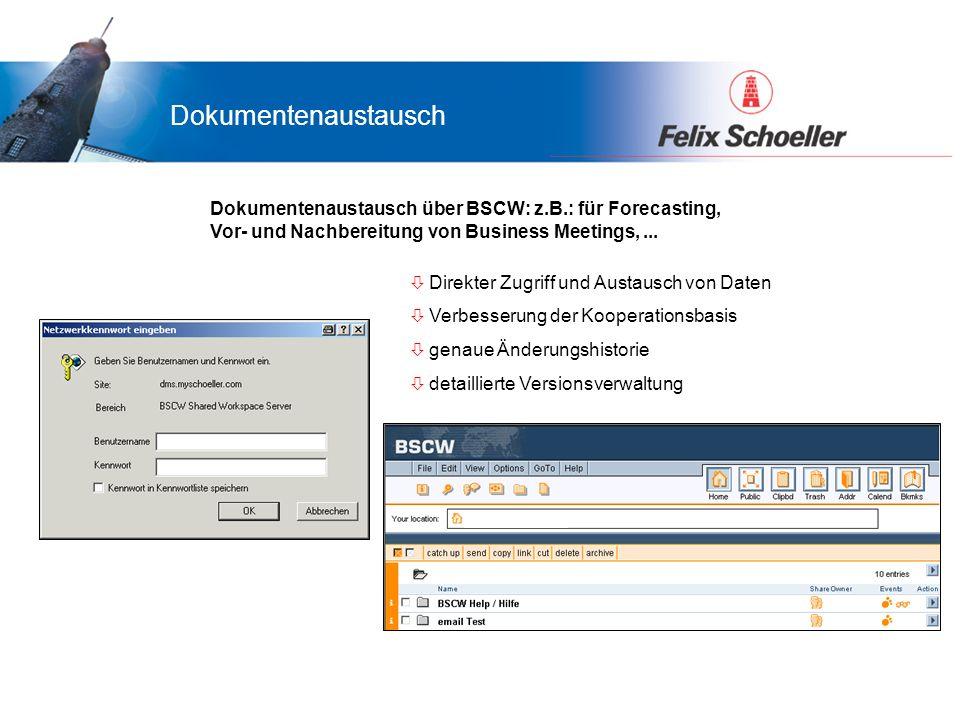 Vorteile für LamiGraf...was bringt das Portal Ihnen... Dokumentenaustausch über BSCW: z.B.: für Forecasting, Vor- und Nachbereitung von Business Meeti