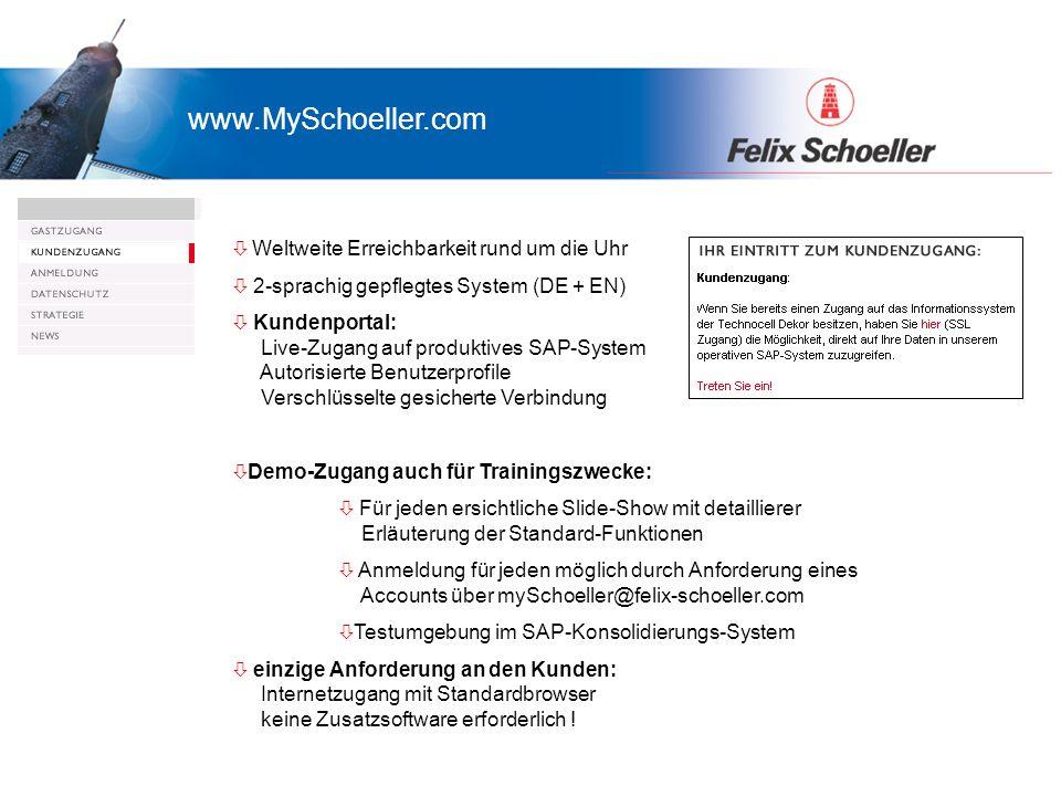 Präsentation myTechnocell.com Gast- und Kundenzugang Weltweite Erreichbarkeit rund um die Uhr ò 2-sprachig gepflegtes System (DE + EN) ò Kundenportal: