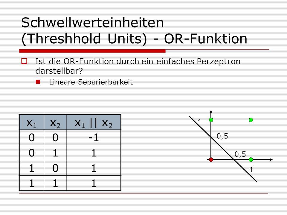 Schwellwerteinheiten (Threshhold Units) - OR-Funktion Ist die OR-Funktion durch ein einfaches Perzeptron darstellbar.