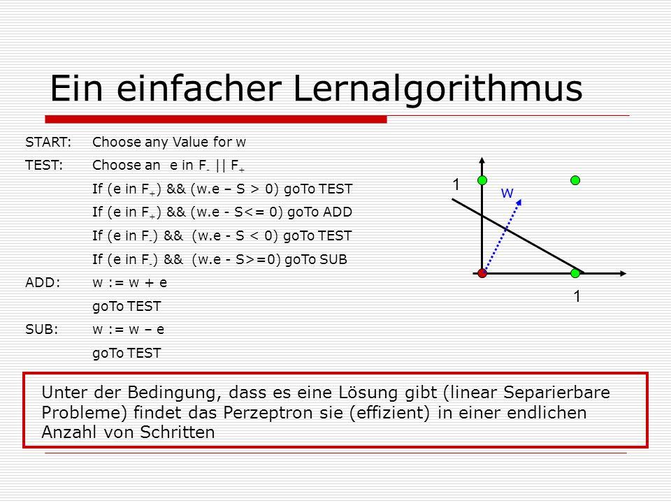 Ein einfacher Lernalgorithmus Unter der Bedingung, dass es eine Lösung gibt (linear Separierbare Probleme) findet das Perzeptron sie (effizient) in einer endlichen Anzahl von Schritten START: Choose any Value for w TEST:Choose an e in F - || F + If (e in F + ) && (w.e – S > 0) goTo TEST If (e in F + ) && (w.e - S<= 0) goTo ADD If (e in F - ) && (w.e - S < 0) goTo TEST If (e in F - ) && (w.e - S>=0) goTo SUB ADD:w := w + e goTo TEST SUB: w := w – e goTo TEST 1 1 w