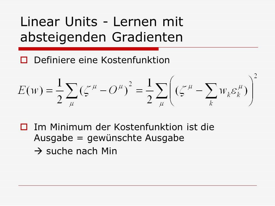 Linear Units - Lernen mit absteigenden Gradienten Definiere eine Kostenfunktion Im Minimum der Kostenfunktion ist die Ausgabe = gewünschte Ausgabe suche nach Min