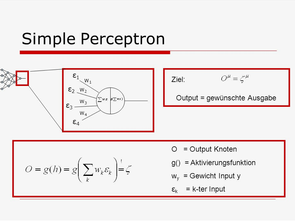 Simple Perceptron w1w1 w2w2 w3w3 w4w4 ε1ε1 ε3ε3 ε2ε2 ε4ε4 Ziel: Output = gewünschte Ausgabe O = Output Knoten g() = Aktivierungsfunktion w y = Gewicht Input y ε k = k-ter Input