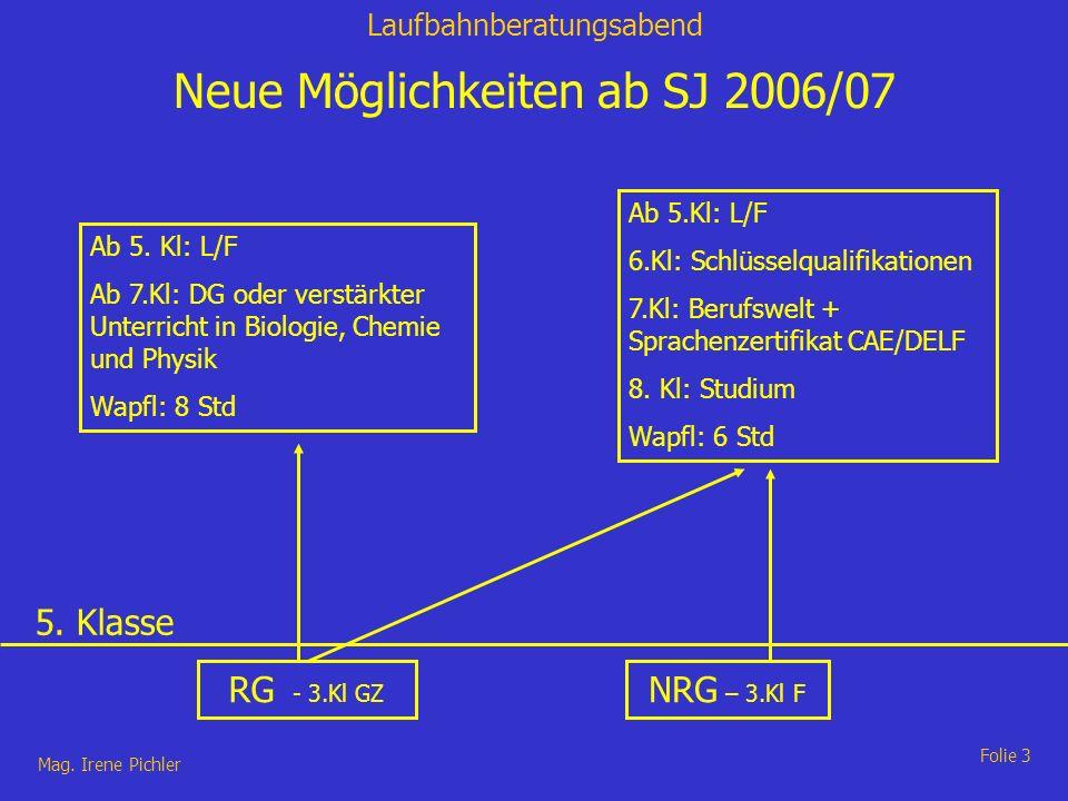 Laufbahnberatungsabend Mag. Irene Pichler Folie 3 Neue Möglichkeiten ab SJ 2006/07 RG - 3.Kl GZ NRG – 3.Kl F Ab 5. Kl: L/F Ab 7.Kl: DG oder verstärkte