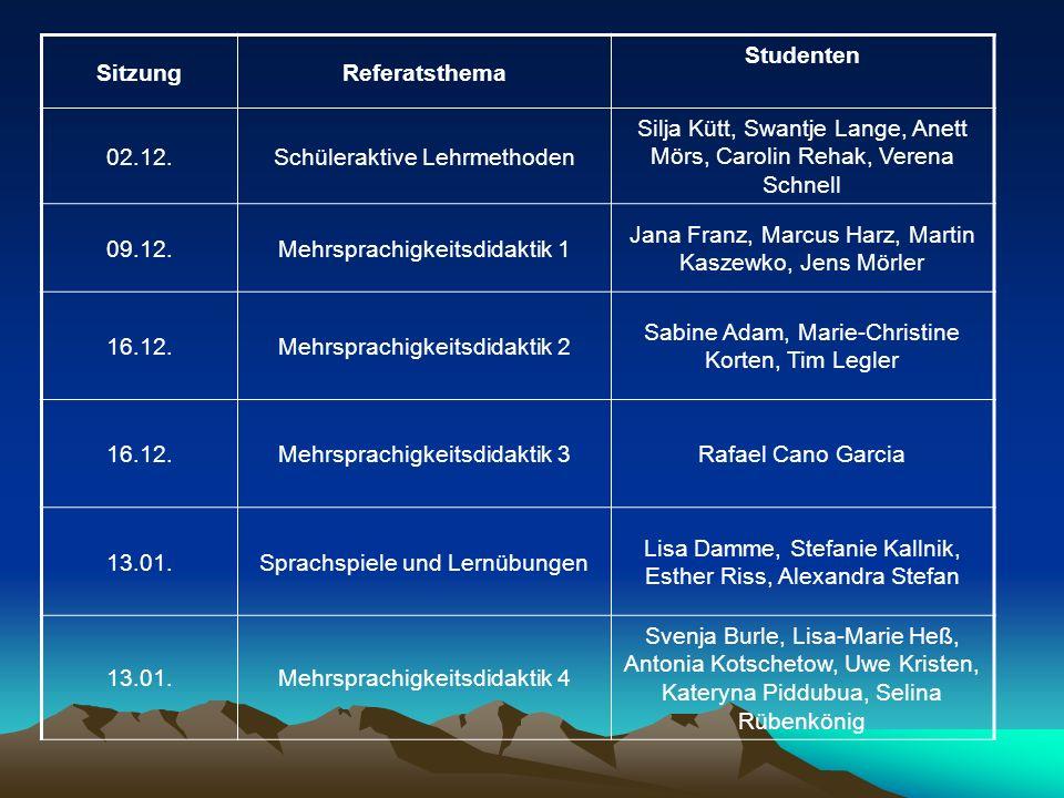 SitzungReferatsthema Studenten 02.12.Schüleraktive Lehrmethoden Silja Kütt, Swantje Lange, Anett Mörs, Carolin Rehak, Verena Schnell 09.12.Mehrsprachi