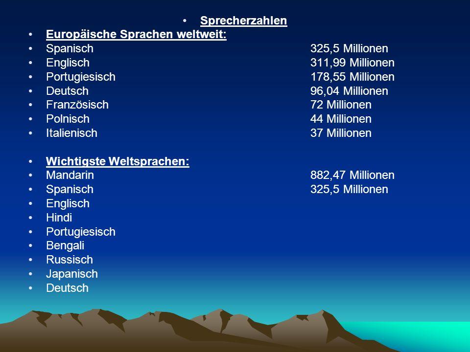 Sprecherzahlen Europäische Sprachen weltweit: Spanisch 325,5 Millionen Englisch311,99 Millionen Portugiesisch178,55 Millionen Deutsch96,04 Millionen F