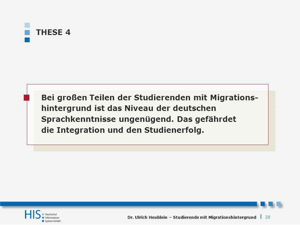 20 Dr. Ulrich Heublein Studierende mit Migrationshintergrund THESE 4 Bei großen Teilen der Studierenden mit Migrations- hintergrund ist das Niveau der