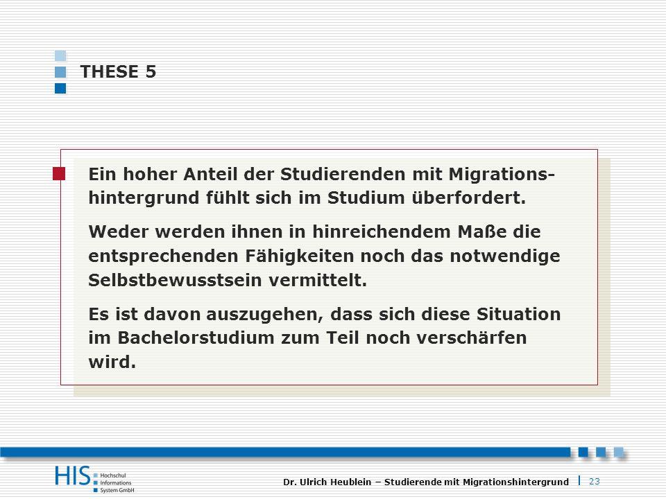 23 Dr. Ulrich Heublein Studierende mit Migrationshintergrund THESE 5 Ein hoher Anteil der Studierenden mit Migrations- hintergrund fühlt sich im Studi