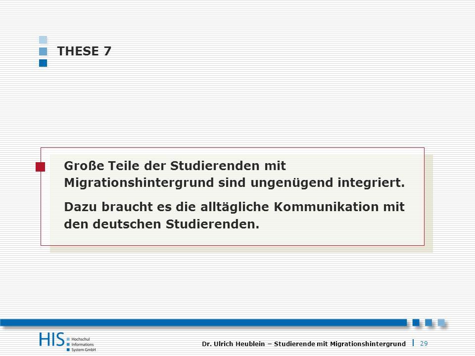 29 Dr. Ulrich Heublein Studierende mit Migrationshintergrund THESE 7 Große Teile der Studierenden mit Migrationshintergrund sind ungenügend integriert