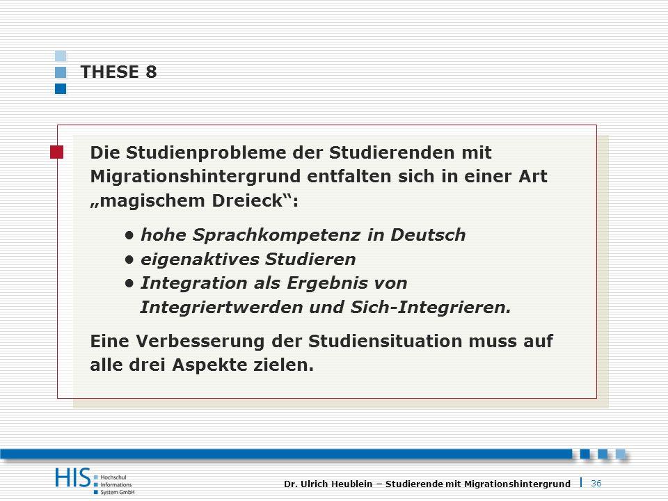 36 Dr. Ulrich Heublein Studierende mit Migrationshintergrund THESE 8 Die Studienprobleme der Studierenden mit Migrationshintergrund entfalten sich in