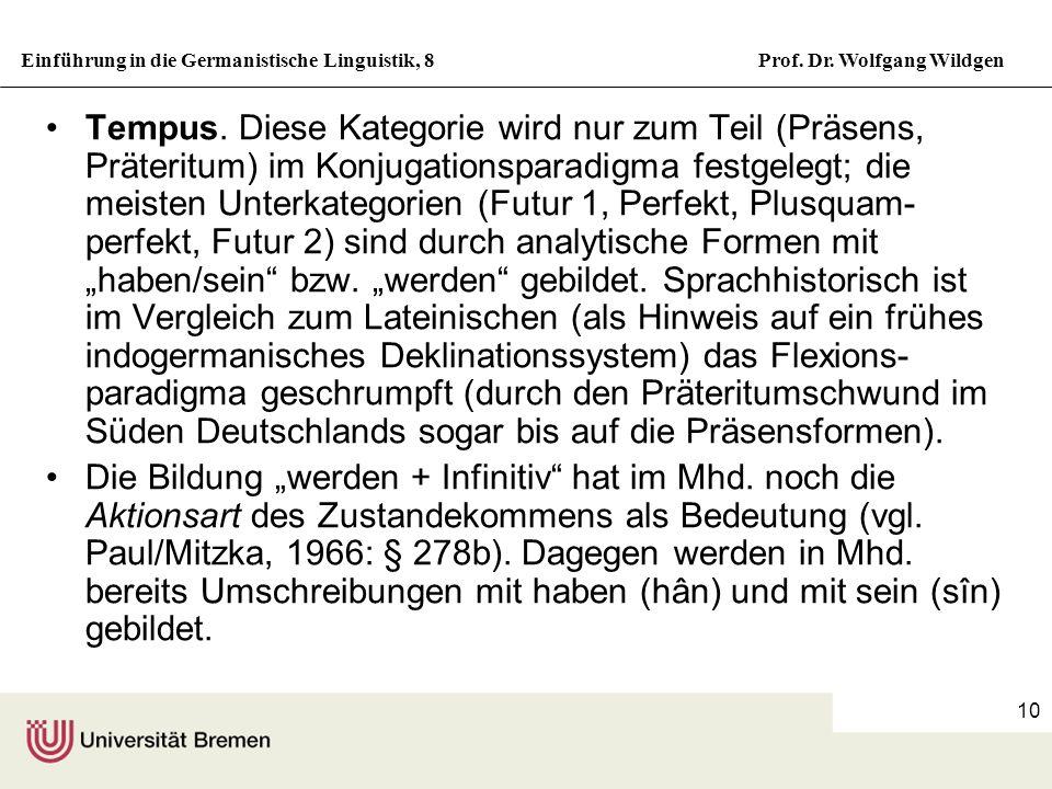 Einführung in die Germanistische Linguistik, 8Prof. Dr. Wolfgang Wildgen 10 Tempus. Diese Kategorie wird nur zum Teil (Präsens, Präteritum) im Konjuga