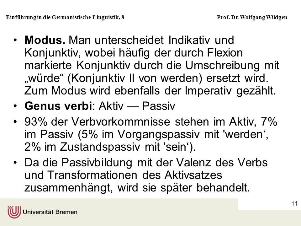 Einführung in die Germanistische Linguistik, 8Prof. Dr. Wolfgang Wildgen 11 Modus. Man unterscheidet Indikativ und Konjunktiv, wobei häufig der durch