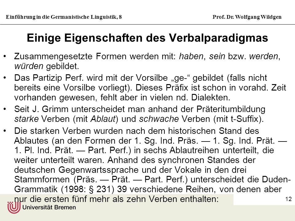 Einführung in die Germanistische Linguistik, 8Prof. Dr. Wolfgang Wildgen 12 Einige Eigenschaften des Verbalparadigmas Zusammengesetzte Formen werden m