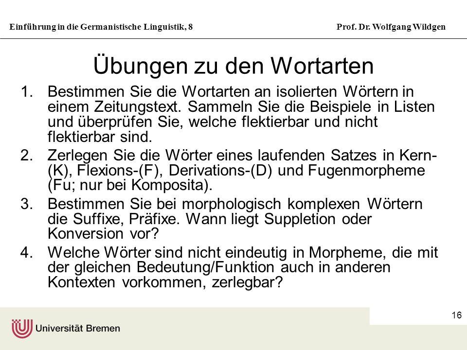 Einführung in die Germanistische Linguistik, 8Prof. Dr. Wolfgang Wildgen 16 Übungen zu den Wortarten 1.Bestimmen Sie die Wortarten an isolierten Wörte