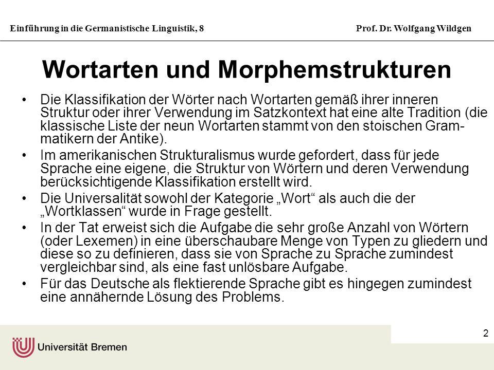 Einführung in die Germanistische Linguistik, 8Prof. Dr. Wolfgang Wildgen 2 Wortarten und Morphemstrukturen Die Klassifikation der Wörter nach Wortarte