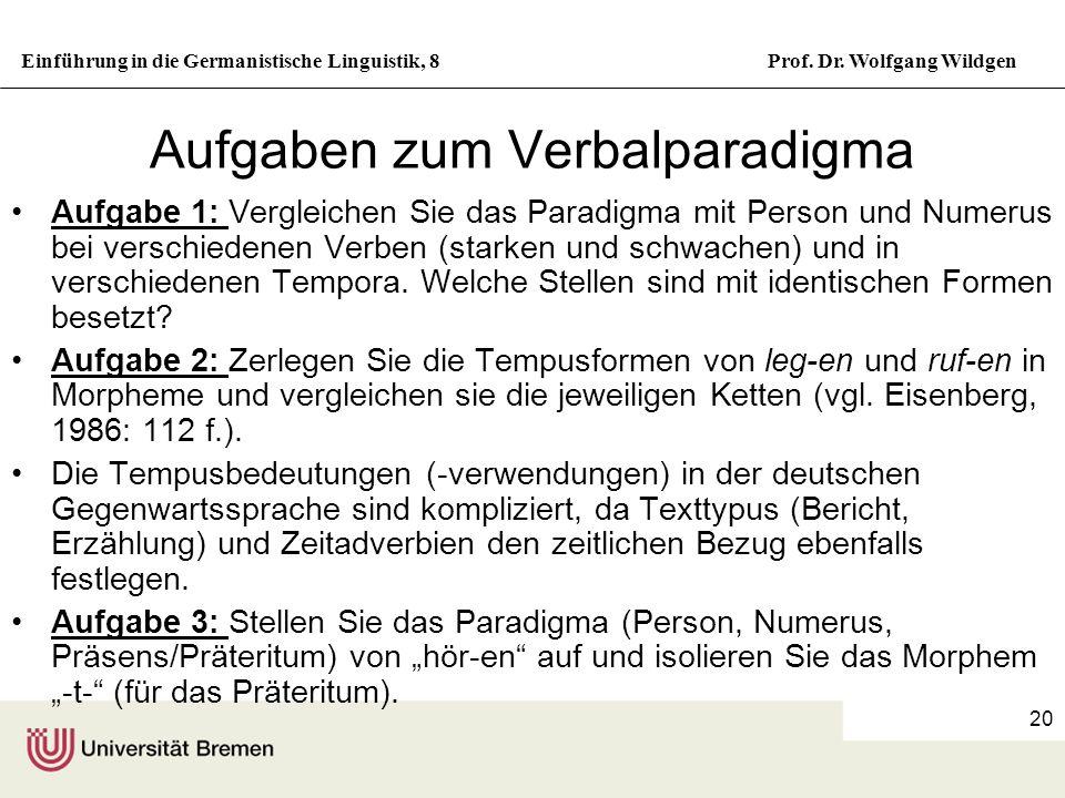 Einführung in die Germanistische Linguistik, 8Prof. Dr. Wolfgang Wildgen 20 Aufgaben zum Verbalparadigma Aufgabe 1: Vergleichen Sie das Paradigma mit