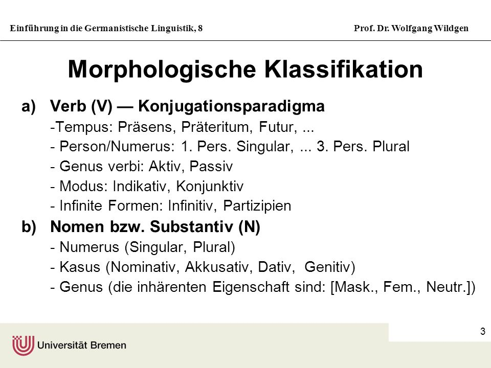 Einführung in die Germanistische Linguistik, 8Prof. Dr. Wolfgang Wildgen 3 Morphologische Klassifikation a)Verb (V) Konjugationsparadigma -Tempus: Prä