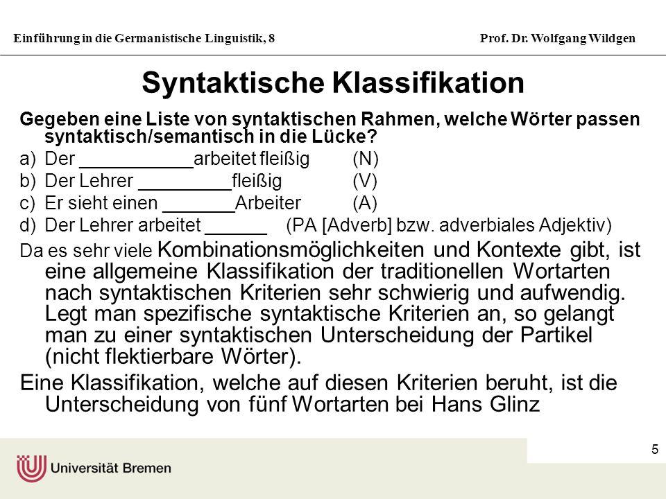 Einführung in die Germanistische Linguistik, 8Prof. Dr. Wolfgang Wildgen 5 Syntaktische Klassifikation Gegeben eine Liste von syntaktischen Rahmen, we
