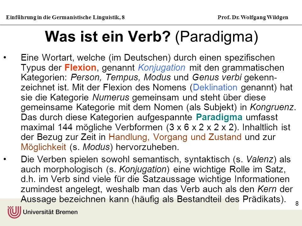 Einführung in die Germanistische Linguistik, 8Prof. Dr. Wolfgang Wildgen 8 Was ist ein Verb? (Paradigma) Eine Wortart, welche (im Deutschen) durch ein