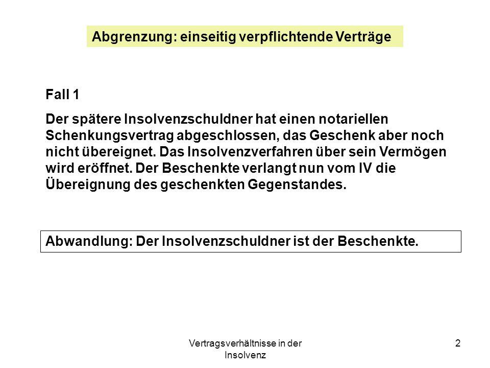 Vertragsverhältnisse in der Insolvenz 13 Beispiel 2: Der Insolvenzschuldner ist Inhaber mehrerer Patente.