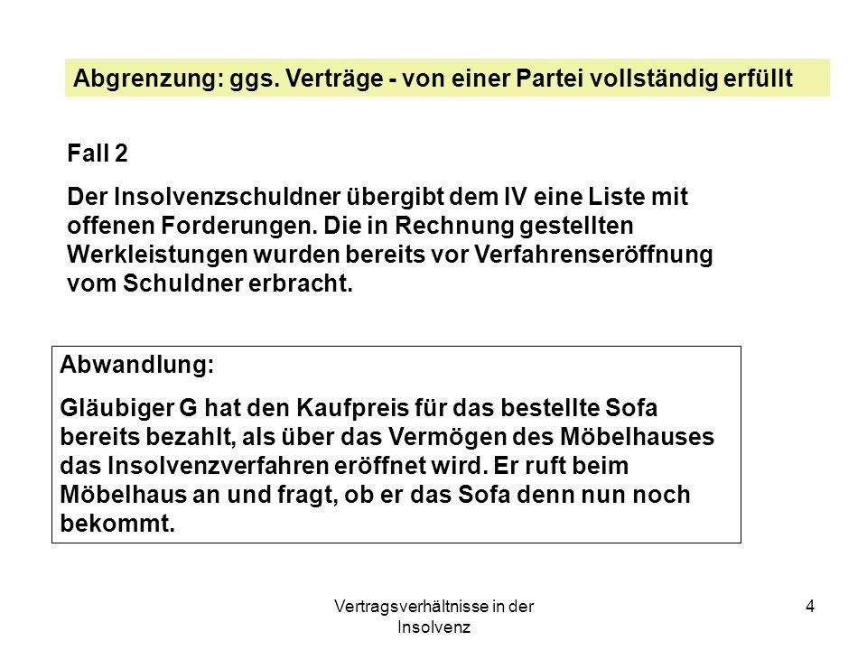 Vertragsverhältnisse in der Insolvenz 4 Abgrenzung: ggs. Verträge - von einer Partei vollständig erfüllt Fall 2 Der Insolvenzschuldner übergibt dem IV