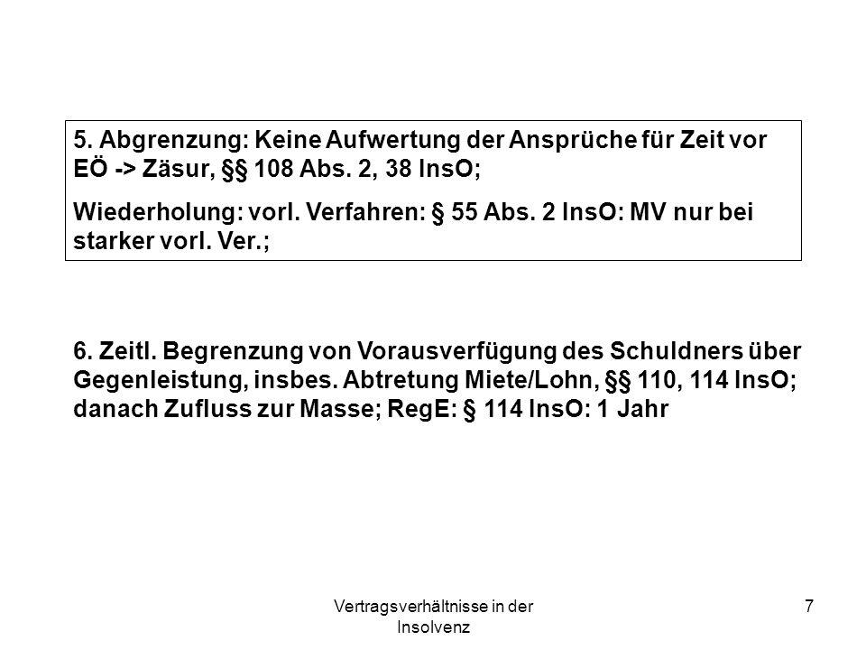Vertragsverhältnisse in der Insolvenz 7 6. Zeitl. Begrenzung von Vorausverfügung des Schuldners über Gegenleistung, insbes. Abtretung Miete/Lohn, §§ 1