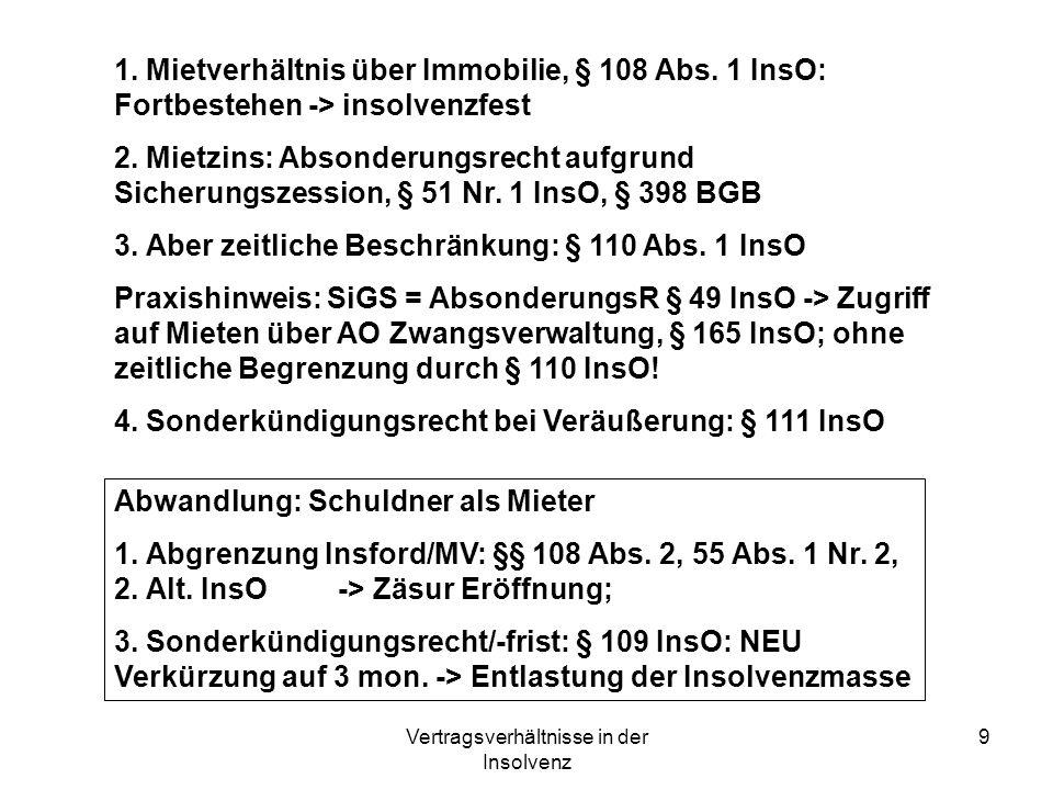 Vertragsverhältnisse in der Insolvenz 9 1. Mietverhältnis über Immobilie, § 108 Abs. 1 InsO: Fortbestehen -> insolvenzfest 2. Mietzins: Absonderungsre