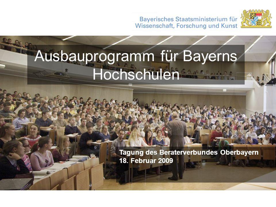 Ausbauprogramm für Bayerns Hochschulen Tagung des Beraterverbundes Oberbayern 18. Februar 2009