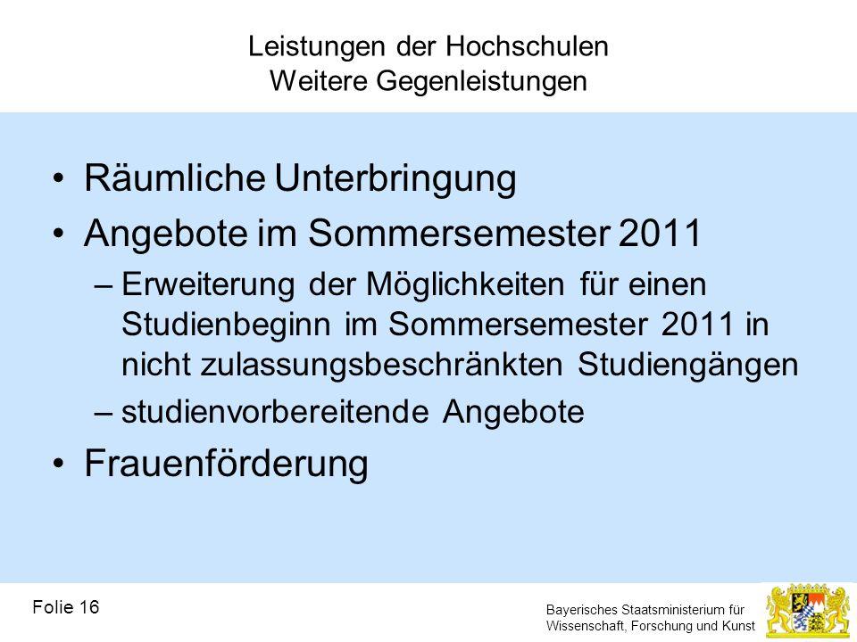 Bayerisches Staatsministerium für Wissenschaft, Forschung und Kunst Leistungen der Hochschulen Weitere Gegenleistungen Räumliche Unterbringung Angebot