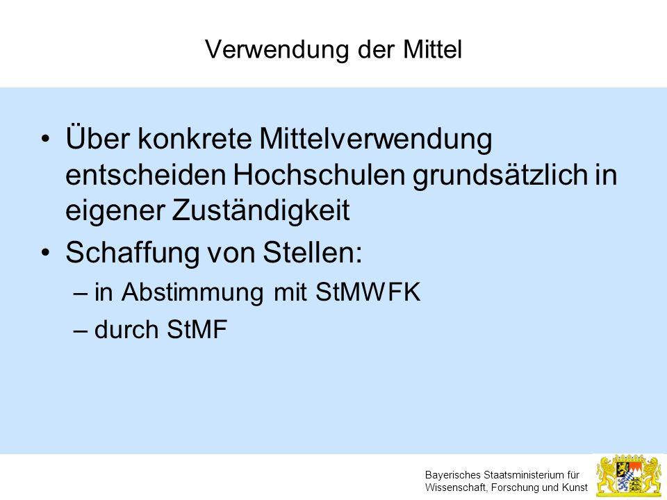 Bayerisches Staatsministerium für Wissenschaft, Forschung und Kunst Verwendung der Mittel Über konkrete Mittelverwendung entscheiden Hochschulen grund