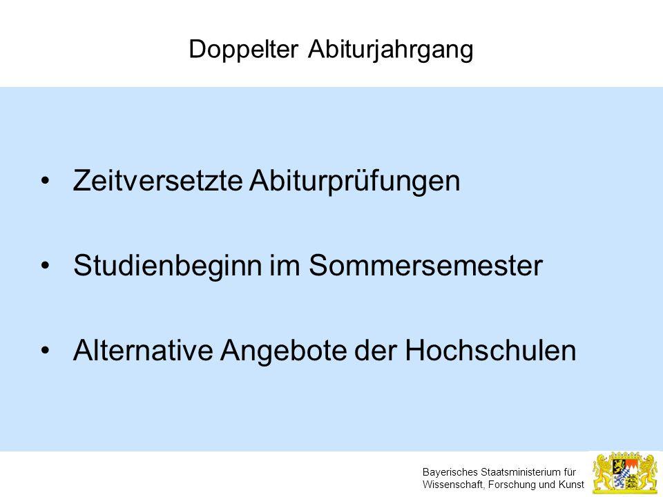 Bayerisches Staatsministerium für Wissenschaft, Forschung und Kunst Doppelter Abiturjahrgang Zeitversetzte Abiturprüfungen Studienbeginn im Sommerseme