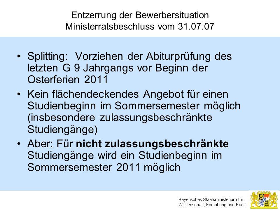 Bayerisches Staatsministerium für Wissenschaft, Forschung und Kunst Entzerrung der Bewerbersituation Ministerratsbeschluss vom 31.07.07 Splitting: Vor
