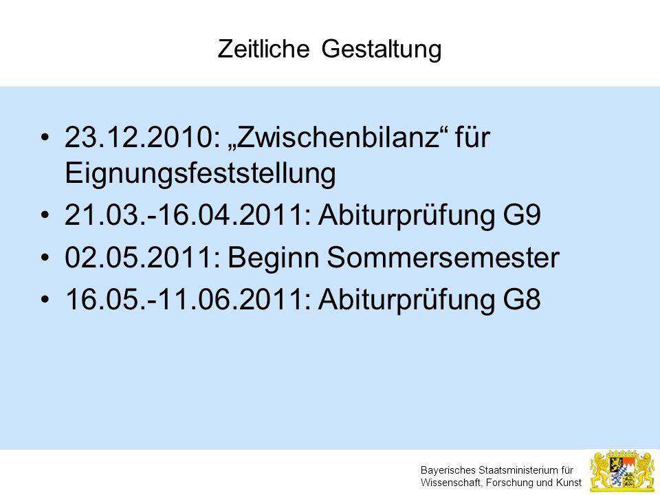 Bayerisches Staatsministerium für Wissenschaft, Forschung und Kunst Zeitliche Gestaltung 23.12.2010: Zwischenbilanz für Eignungsfeststellung 21.03.-16